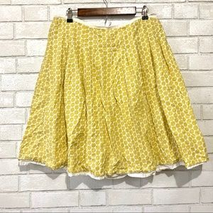 Boden Yellow Floral Circle Skirt Lined 100% Cotton